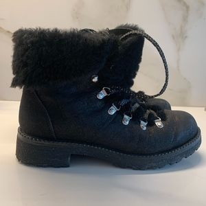 J. Crew Black Suede/Shearling Nordic Boots US 8